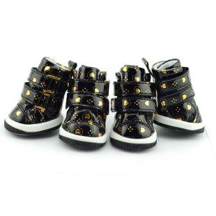 Topánky pre psov - čierne so srdiečkami, suchý zips, XL