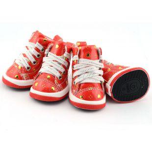 Tenisky pre psov - červené so srdiečkami, L