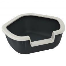 Rohová toaleta pre mačky DAMA - čierna - 57,5 x 51,5 x 22 cm