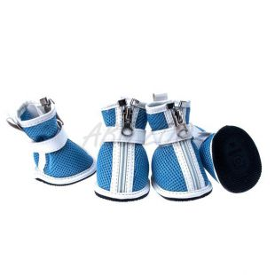 Topánky pre psov - sieťované modré, zips, XS