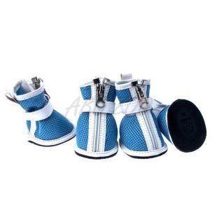 Topánky pre psov - sieťované modré, zips, M