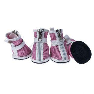 Topánky pre psov - sieťované ružové, zips, XS