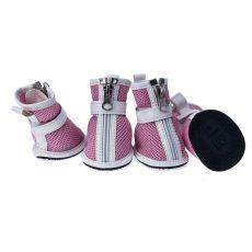 Topánky pre psov - sieťované ružové, zips, M