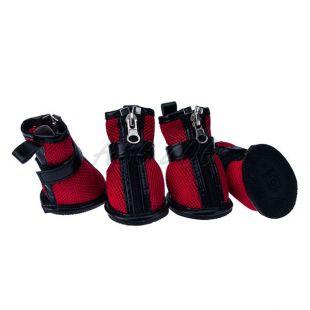 Topánky pre psov - sieťované červené, zips, XS