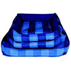 Pelech pre psa - hranatý, modrý károvaný, 60x45cm