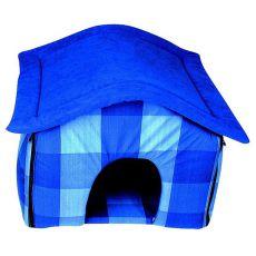 Textilný domček pre psa - modrý, 40x36x36cm