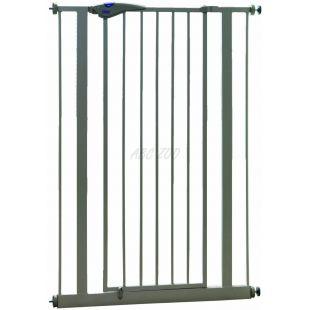 Bariéra pre psy kovová, sivá - 75-84x107 cm