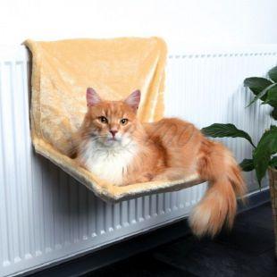 Pelech pre mačky na radiátor, béžový plyš – 48x26x30cm