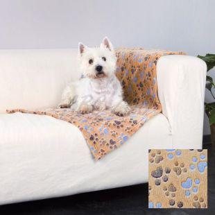 Deka pre psov LASLO - béžová s labkami, 150 x 100 cm