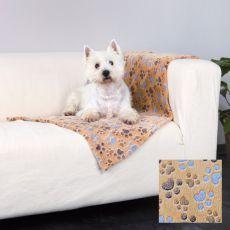 Deka pre psov LASLO - béžová s labkami, 100 x 70 cm