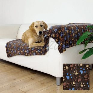 Deka pre psov LASLO - hnedá s labkami, 100 x 70 cm
