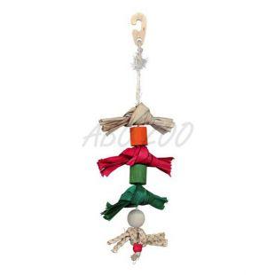 Hračka pre vtáky - lano s mašličkami z palmových listov - 38cm