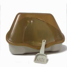 Rohová toaleta s krytom NORA 1C béžová - 18 x 13 x 11 cm