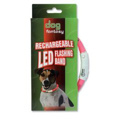 LED obojok pre psy DOG FANTASY - ružový, 45 cm
