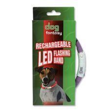 LED obojok pre psy DOG FANTASY - fialový, 45 cm