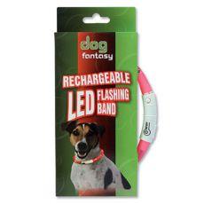 LED obojok pre psy DOG FANTASY - ružový, 70 cm