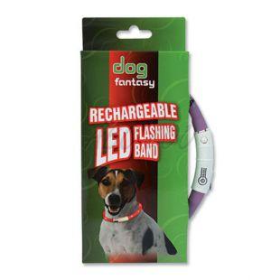 LED obojok pre psy DOG FANTASY - fialový, 70 cm