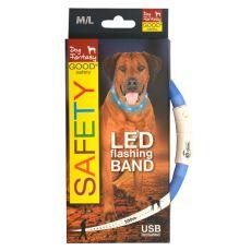 LED obojok pre psy DOG FANTASY - svetlomodrý, 70 cm